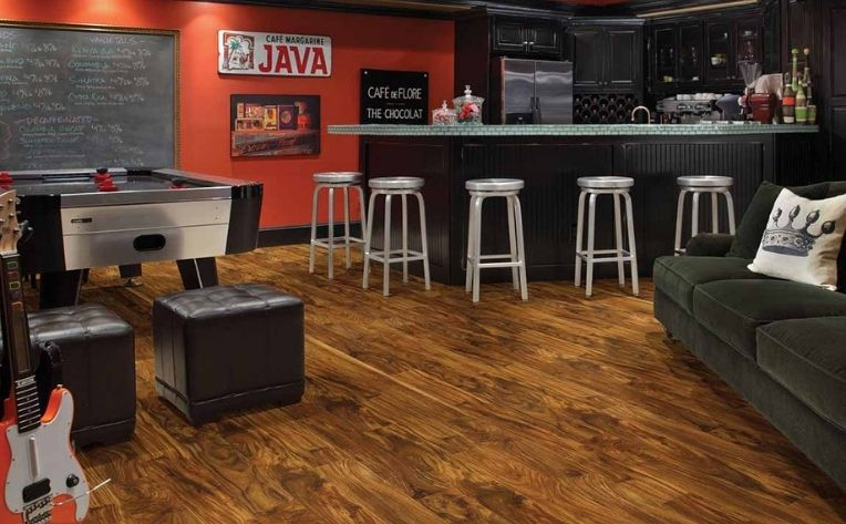 Hardwood Game Room Flooring Example